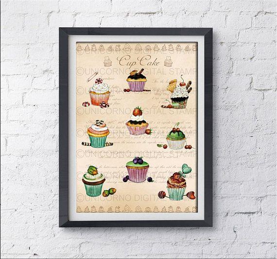cupcake wall decor, kitchen decor, cupcake wall art, kitchen ...