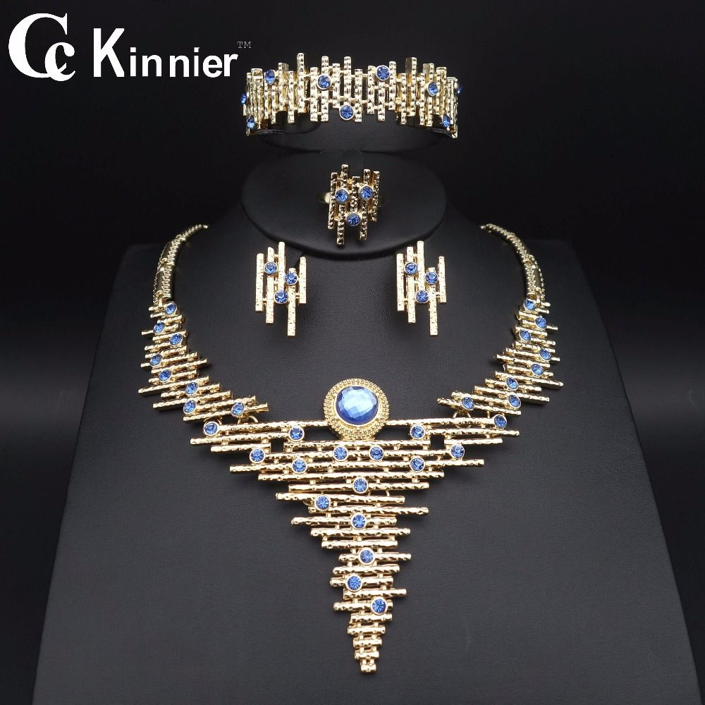 1111 TOPS Fashion Dubai Gold Plated Jewelry Sets Crystal Classic