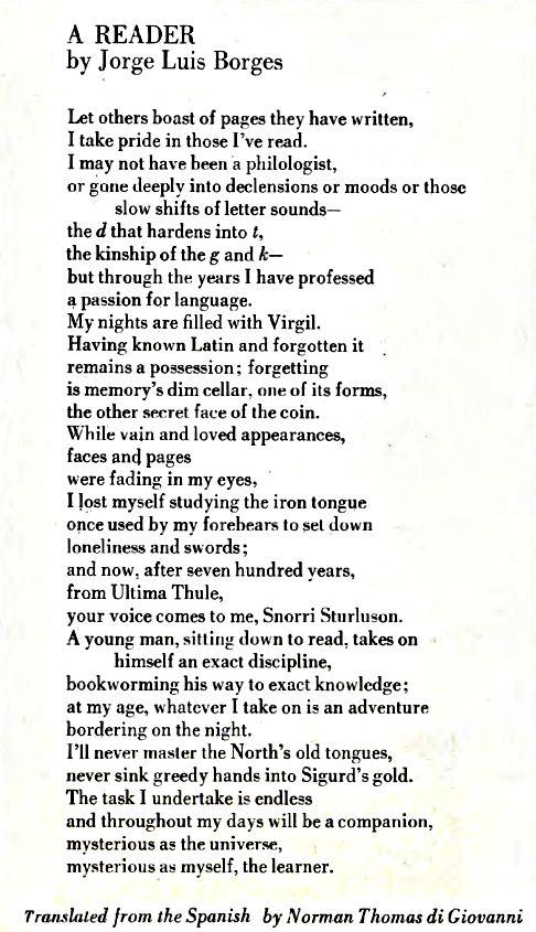 A Reader Jorge Luis Borges Literary Love Poet Poetry Poems