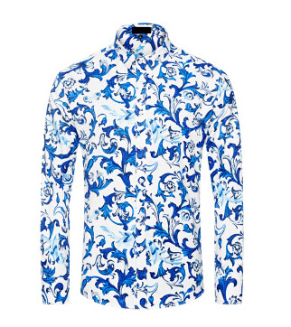 Captivating Blue White Luxury Floral Dress Shirt. http://www ...