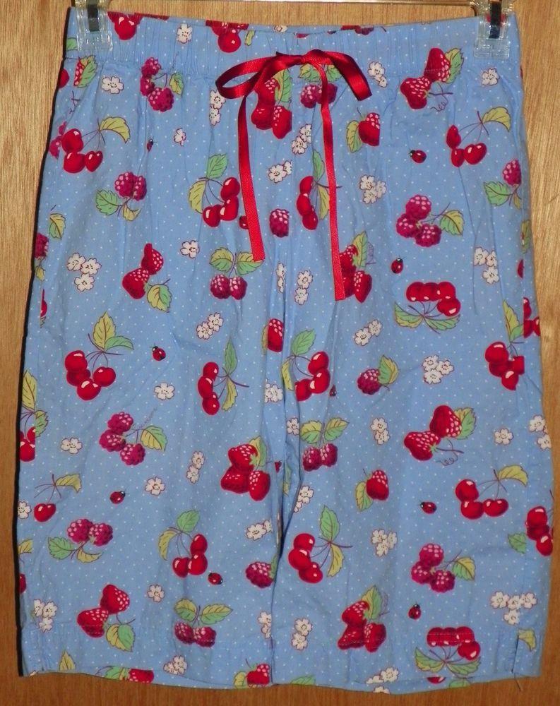 8f7abd638455 Nick and Nora Capri Pajama Lounge Pants Cherries Raspberries Lady Bug Size  Small