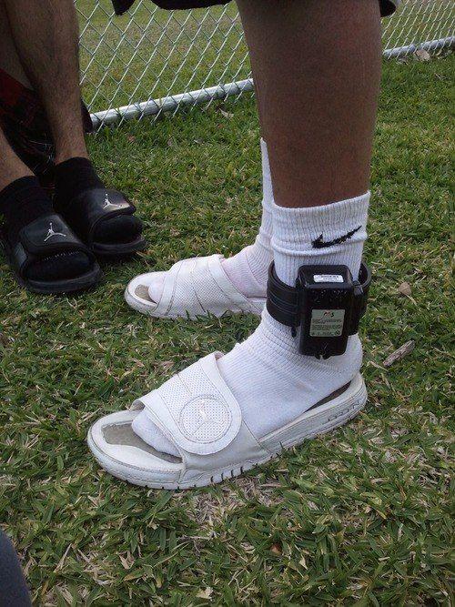 Black And White Nike Slides