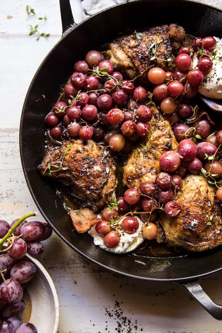 Thyme Roasted Chicken with Grapes and Burrata. - H