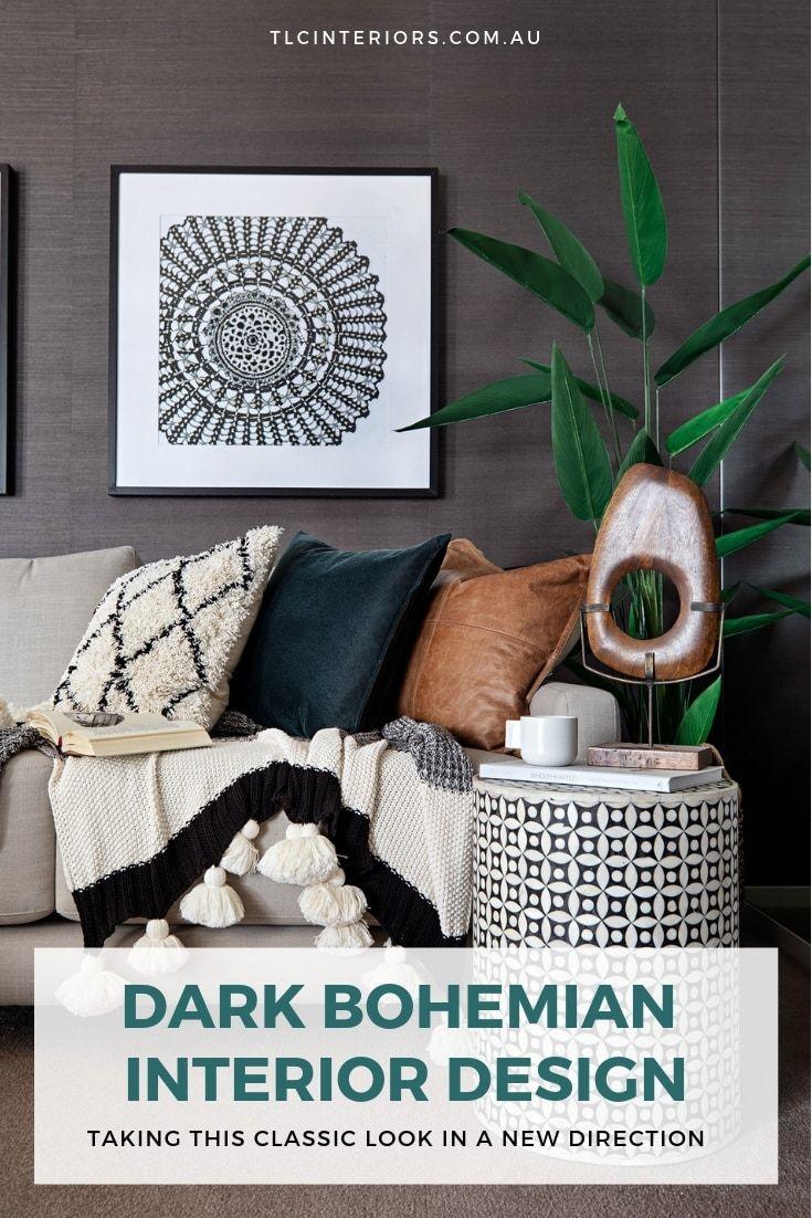 Dark Bohemian Interior Design Ideas Black Cloth Wallpape