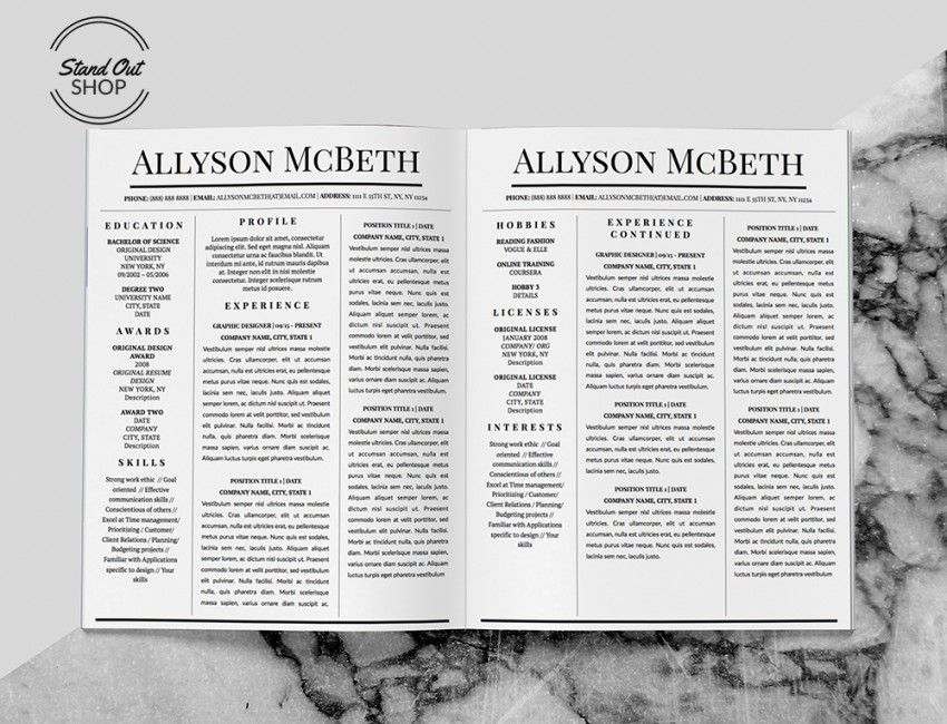 Allyson McBeth Resume 5 Pack Stand Out Shop Personal resume - resume that stands out
