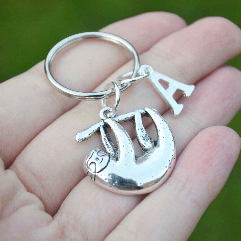 Personalised sloth keyring sloth gift sloth keychain