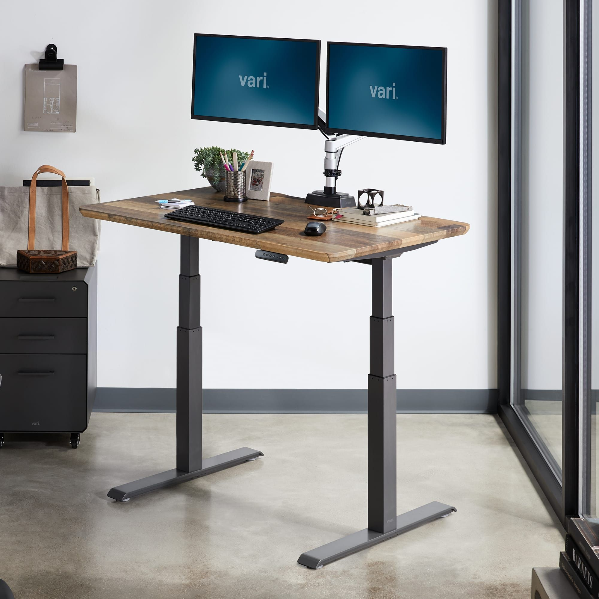 Electric Standing Desk 48x30 Height Adjustable Electric Desk Vari In 2020 Electric Standing Desk Adjustable Standing Desk Adjustable Height Standing Desk
