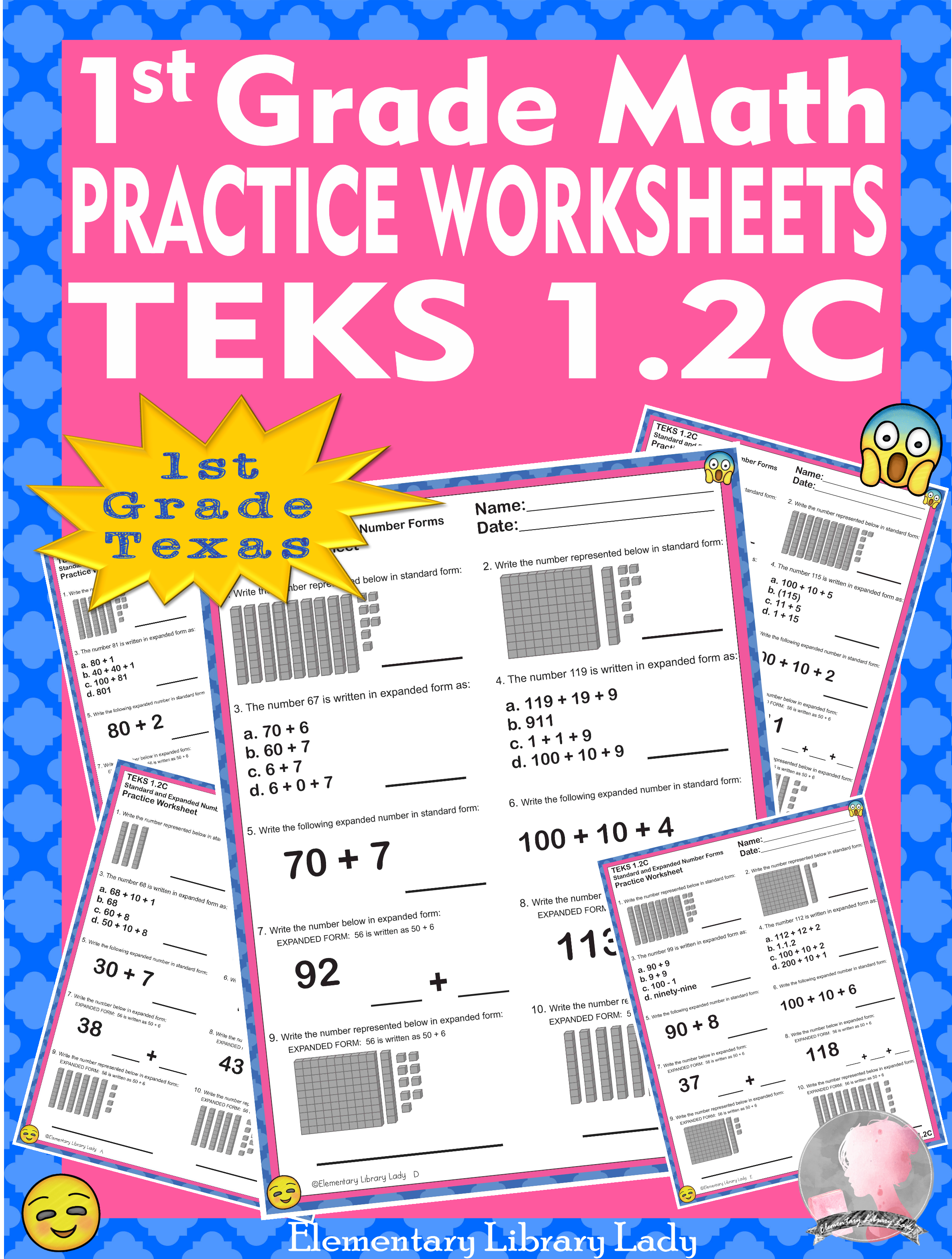 Math Teks 1 2c Texas 1st Grade Practice Worksheets