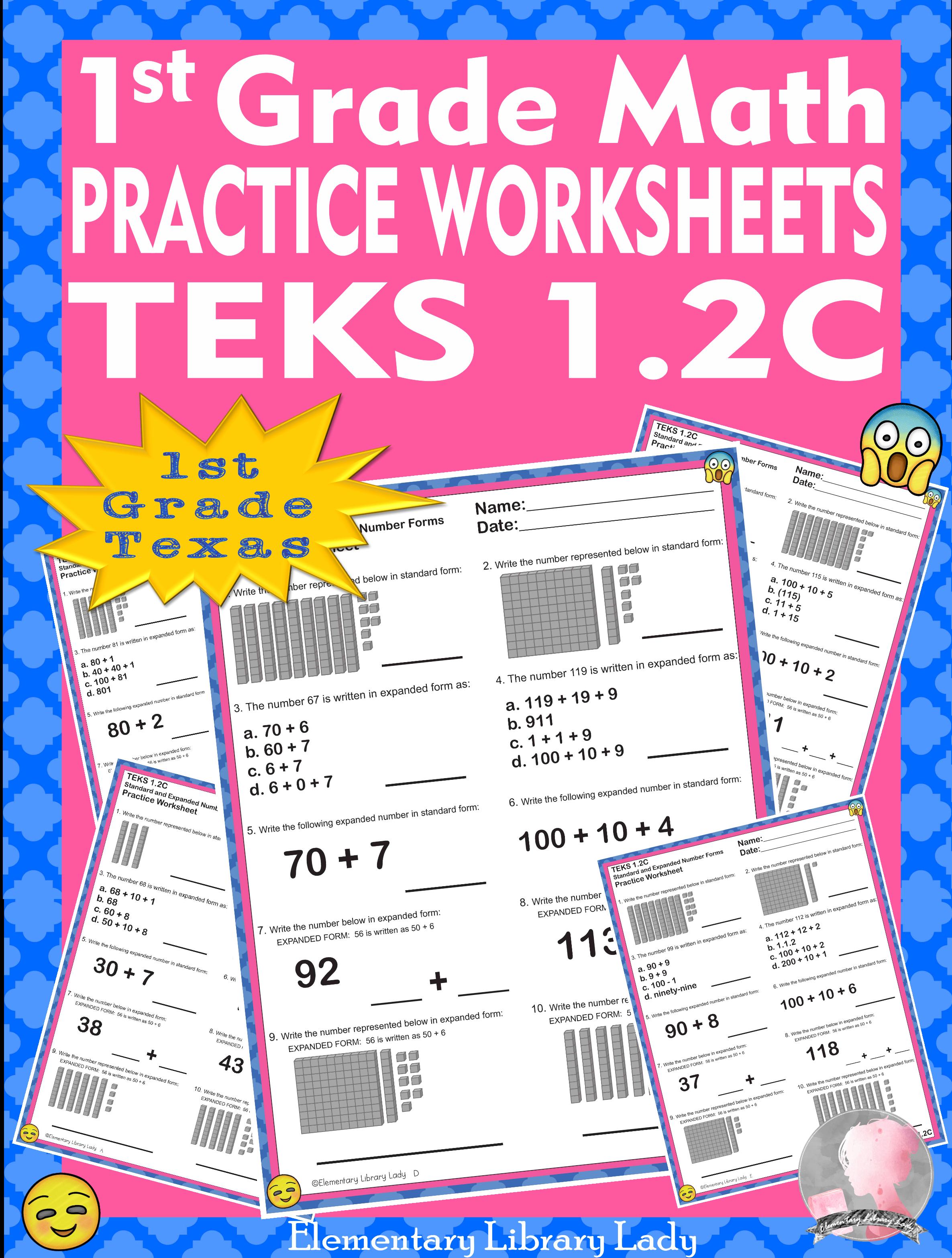 Math Teks 1 2c Texas 1st Grade Practice Worksheets
