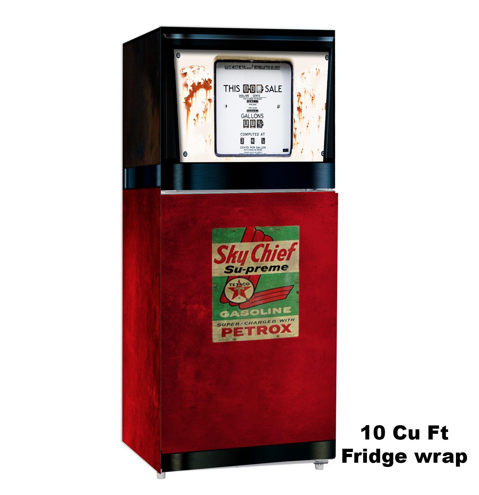 Sky Chief Texaco Pump 10 Cu Ft Fridge Wrap Rm Wraps Sky Chief Refrigerator Panels Color Refrigerator