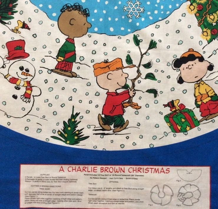 Charlie Brown Christmas Tree Skirt Fabric Panels Peanuts Snoopy Tablecloth  2 New - Other - Charlie Brown Christmas Tree Skirt Fabric Panels Peanuts Snoopy