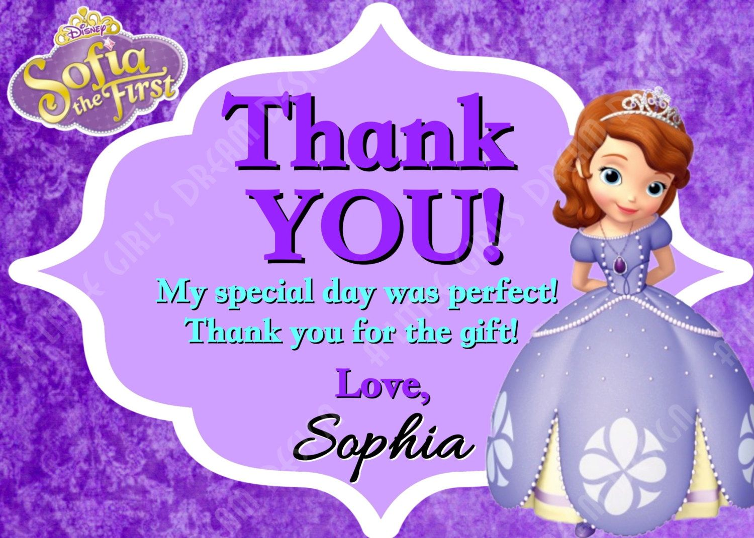 Princess Sofia The First Custom Personalized Birthday Thank You Card