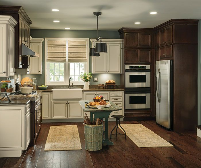 Like the color palate... Rustic kitchen with contrasting finishes ...