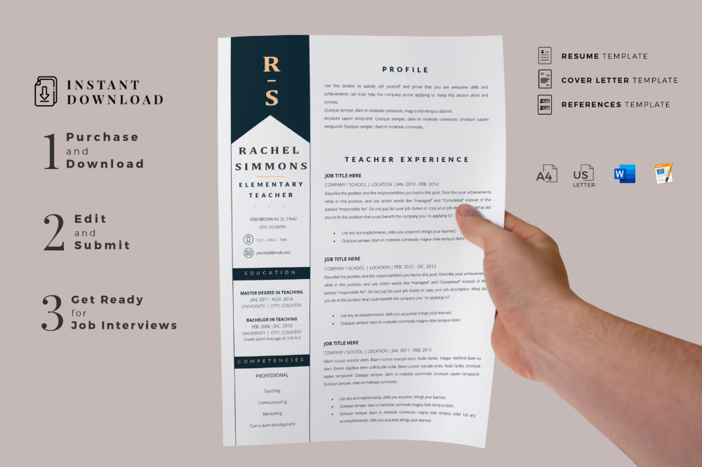 Page Vertical In 2020 Teacher Resume Template Resume Template Teacher Resume