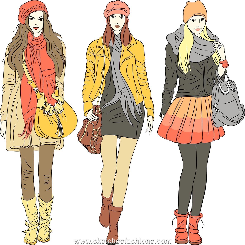 female winter fashion illustration sketch the rainbow