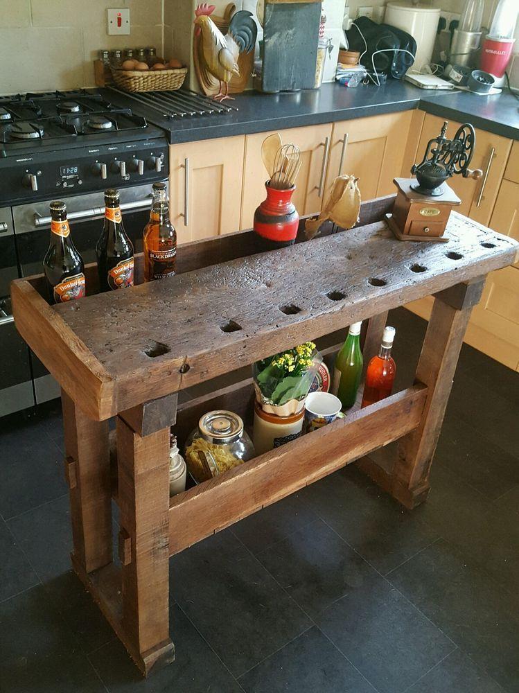 Rustic Oak Workbench Table Kitchen Island Butchers Block Prep Table - Ebay kitchen islands