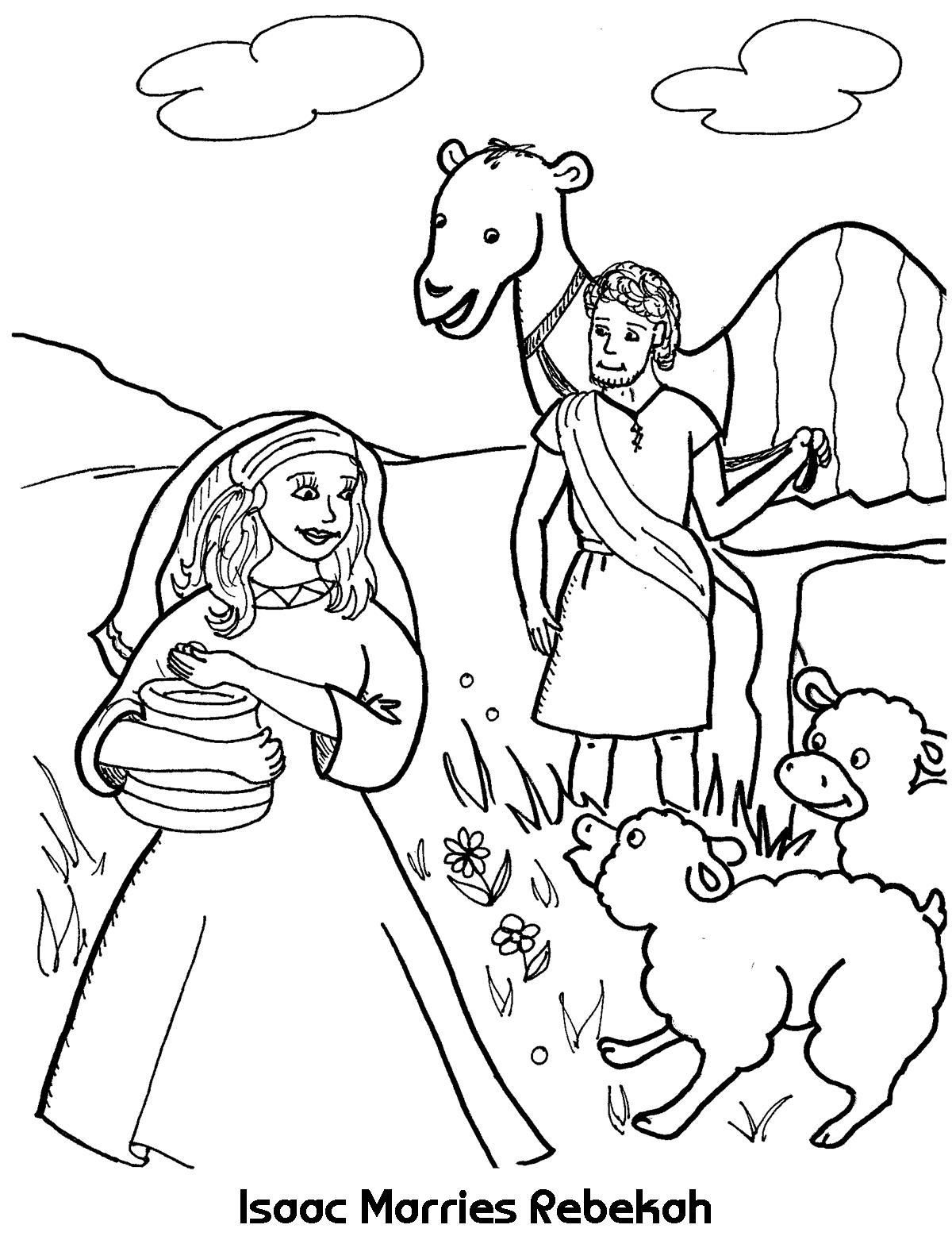 Isaac And Rebekah Sunday School Coloring Pages Bible Story