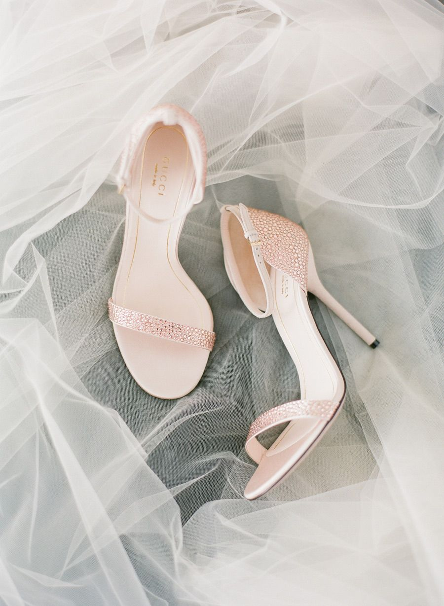 00e6cad0614 Our new favorite bridal shoes - by Gucci - Pink Crystal Ankle Strap 4