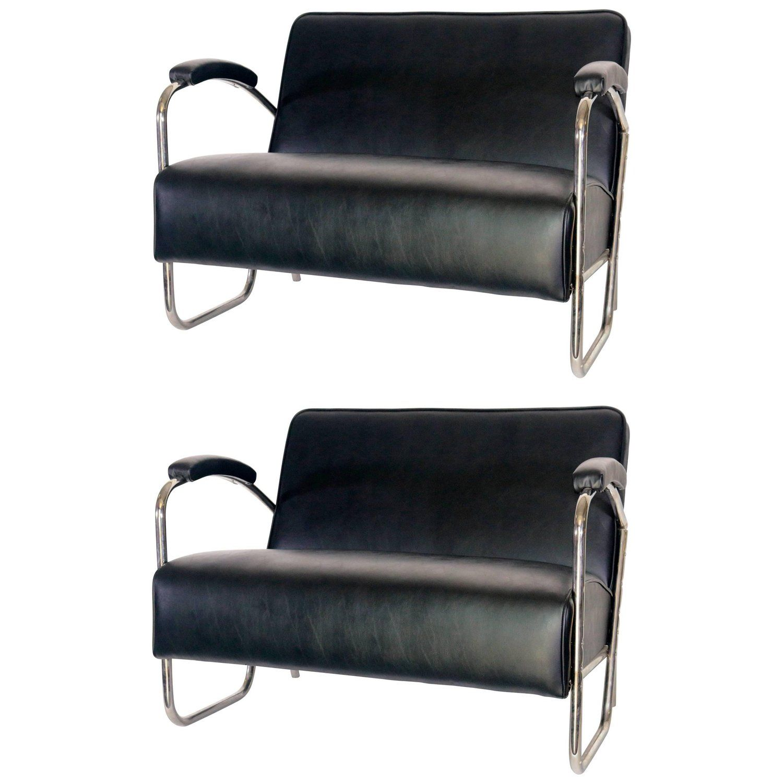 Pair of Mid Century Modern Thonet Style Sattees Sofas