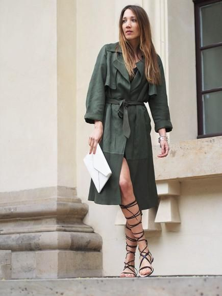 48ee5cb22459 Style a tall pair of black gladiator sandals with a mini dress and a long  trench coat