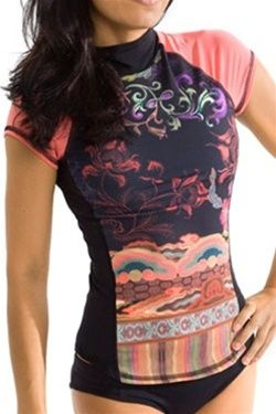 ff1325806a Short-Sleeve Rash guard Swim Top for women with built on n bra ...