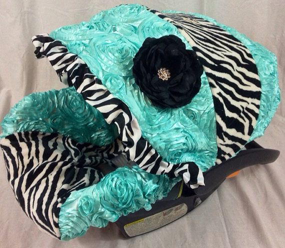 Spa 3d And Zebra Minky Infant Car Seat Cover By