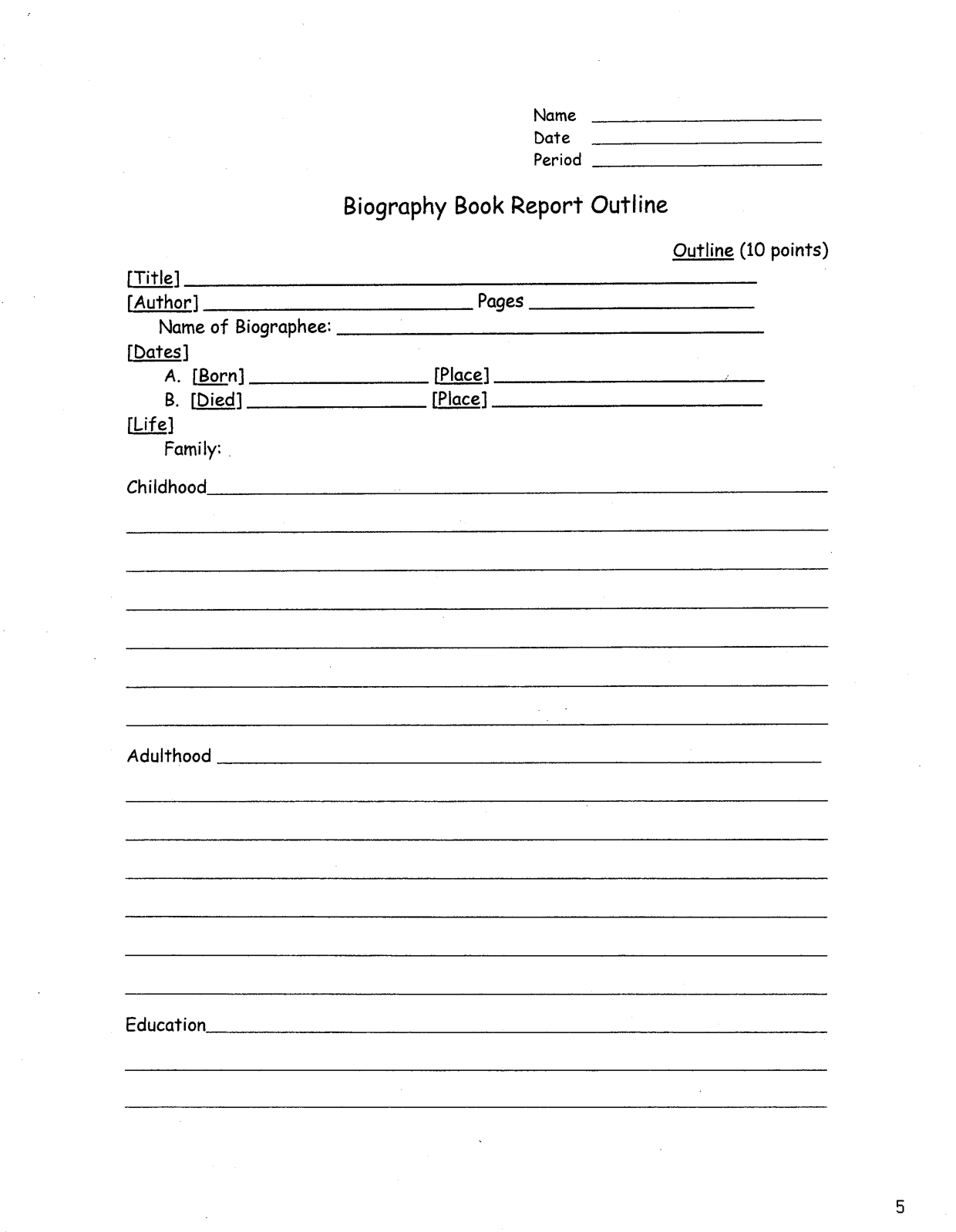 Biography Book Report Outline  Book Report