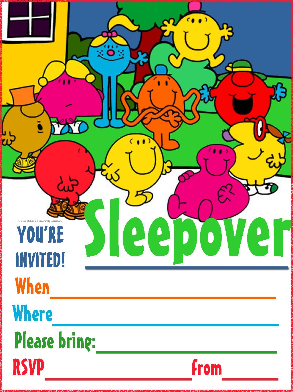 Cute Mr Men and Little Miss slumber party invite for you to print ...