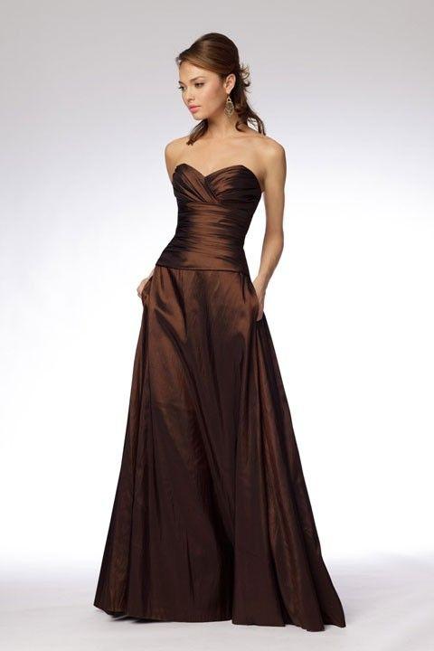 Fashionable A-line empire waist taffeta dress. For my senior recital, but in blue?