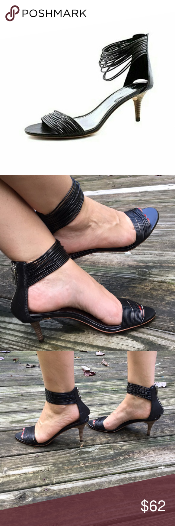 122adc4d222 Coach Manya black leather strappy kitten heels 7.5 Coach Manya black  leather strappy kitten heels 7.5