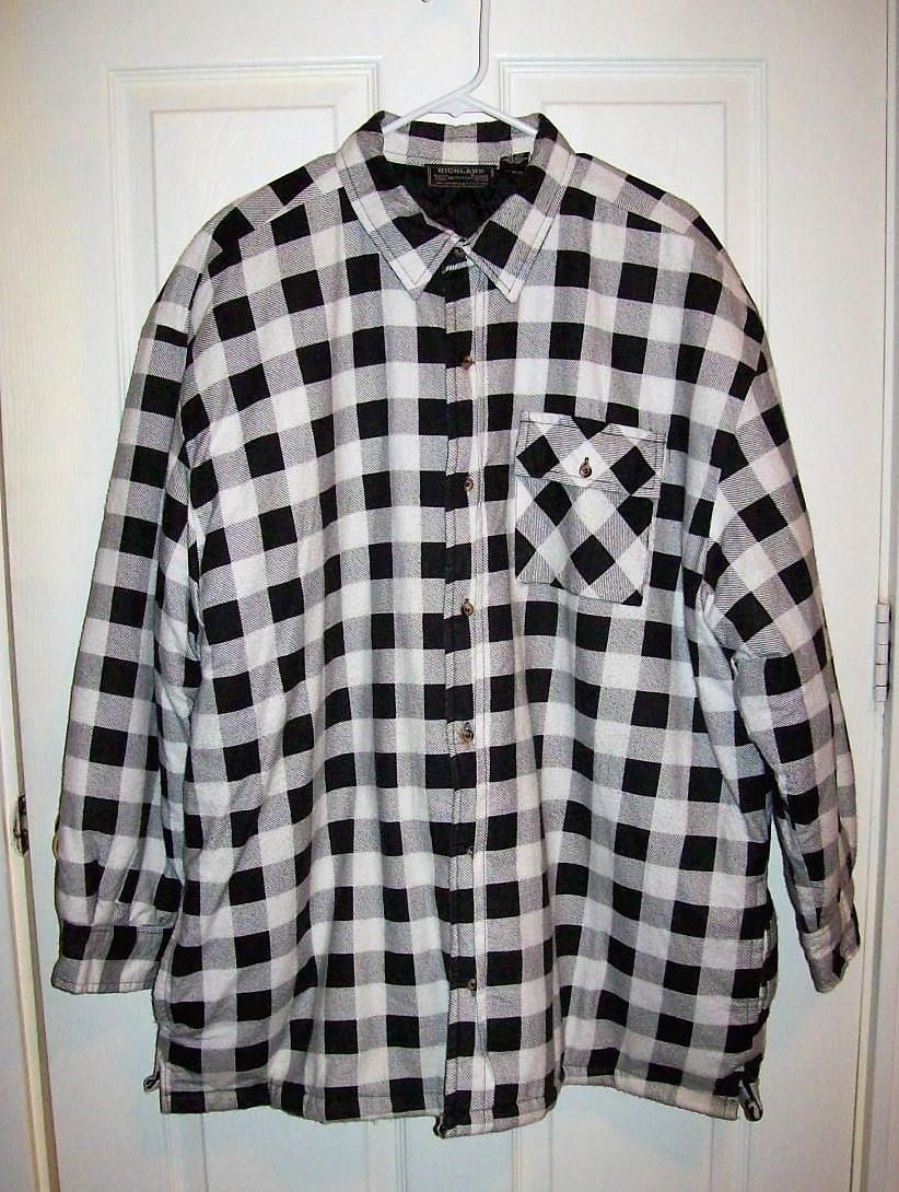 Vintage Men S Black White Plaid Flannel Shirt Jacket Quilted