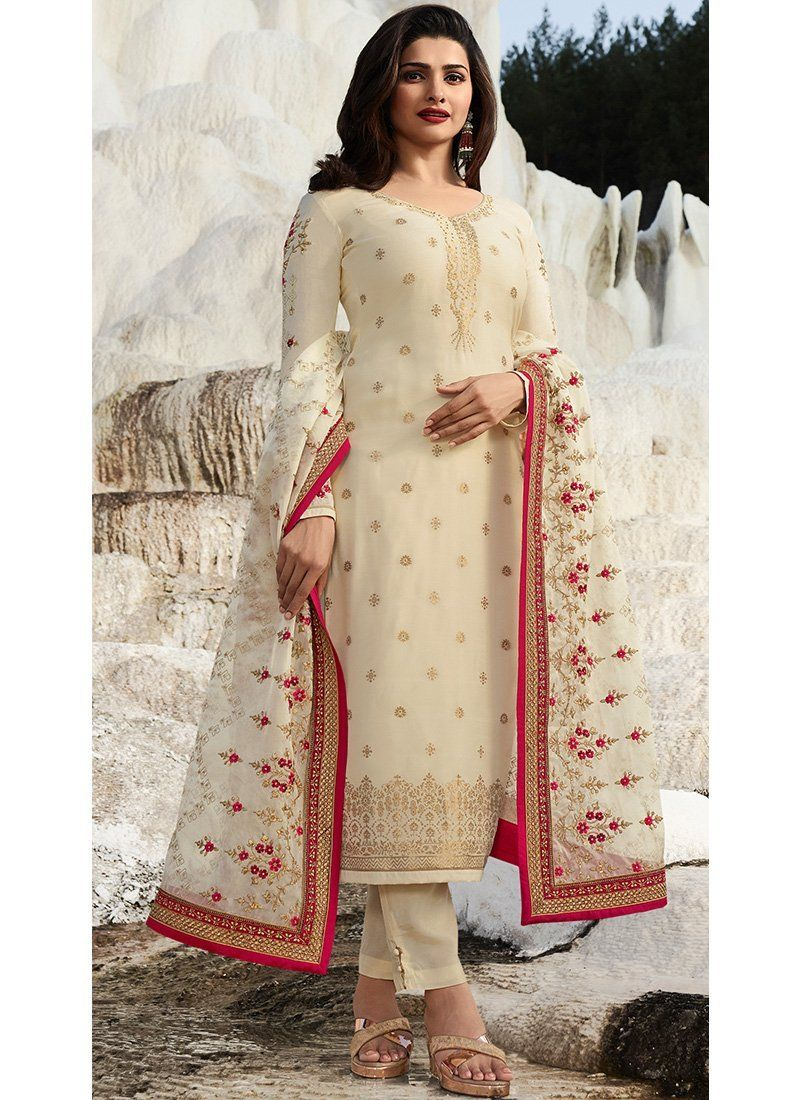 a4bfc46e64 Buy Prachi Desai Off White Straight Salwar Suit Online - Best  Quality–Liinara