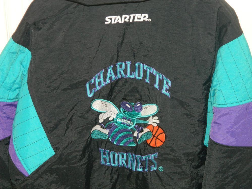 6466fd77a RARE Vintage 90s Charlotte Hornets Starter Coat Jacket NBA Basketball Med  NEW!!!  Starter  CharlotteHornets