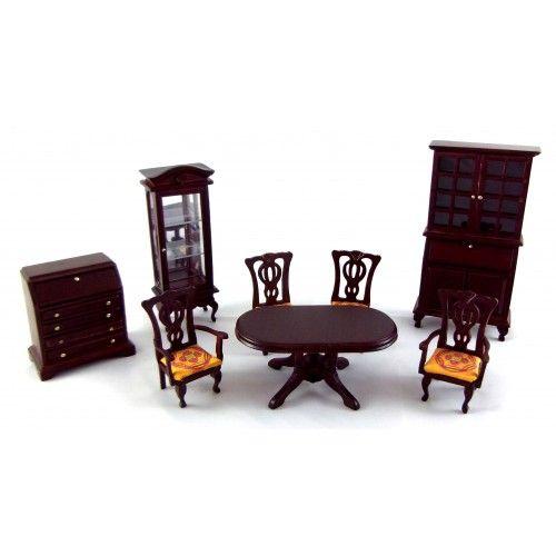Dolls House 1:24 Scale Miniature Dark Oak Victorian Dining Room Furniture  Set