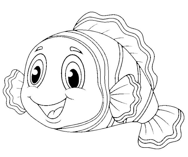 kumpulan gambar untuk belajar mewarnai gambar ikan polos