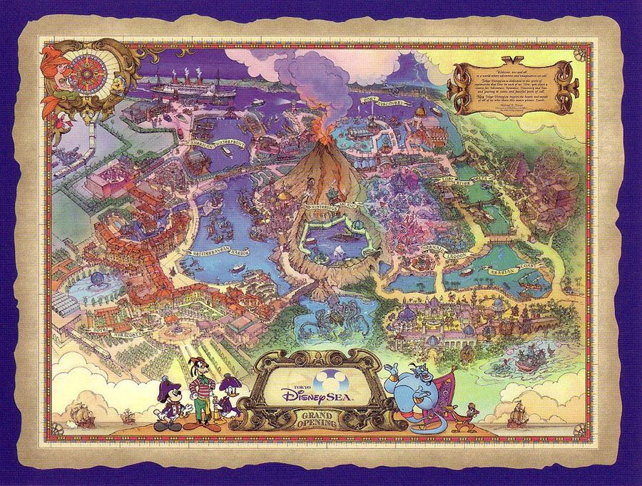 Tokyo disneysea theme park cartography pinterest tokyo art map for tokyo disney sea sciox Image collections