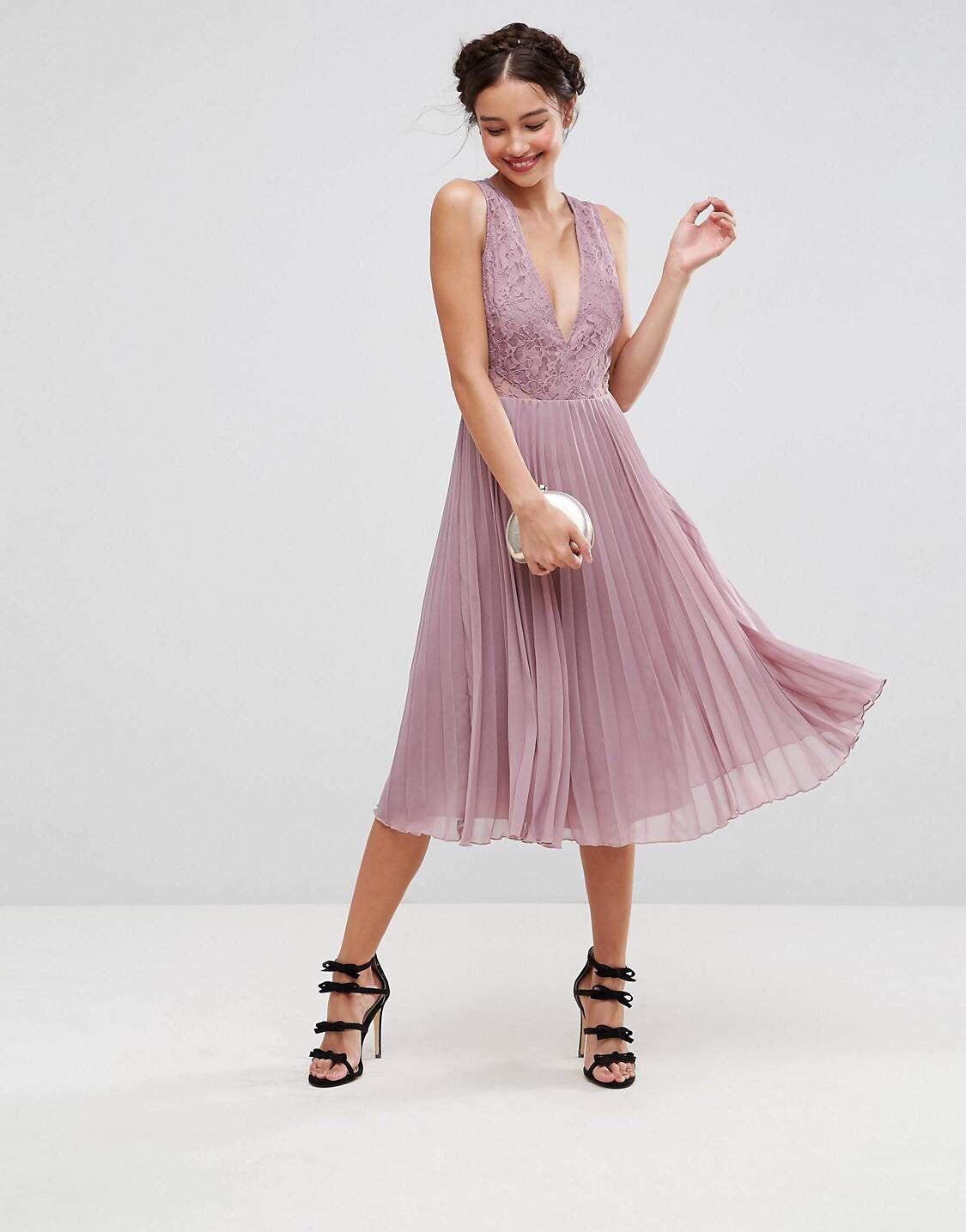 Asos Plissiertes Midikleid Mit Spitzenverzierung Wunderschone Kleider Abschlussball Kleider Plissierte Kleider