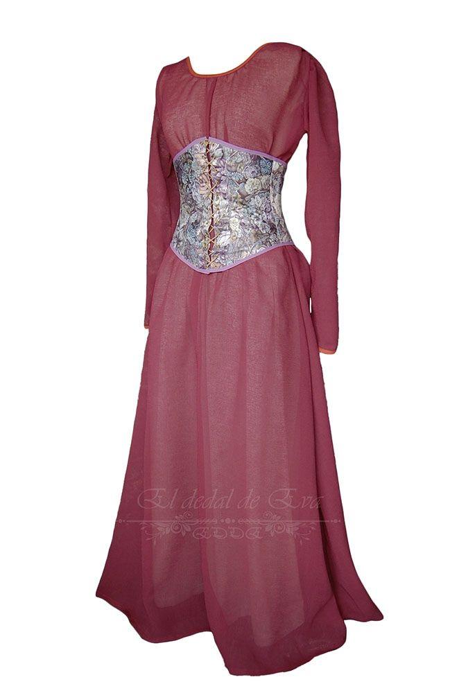 Vestido sencillo en tela fina, color burdeos, apropiado para vestir ...