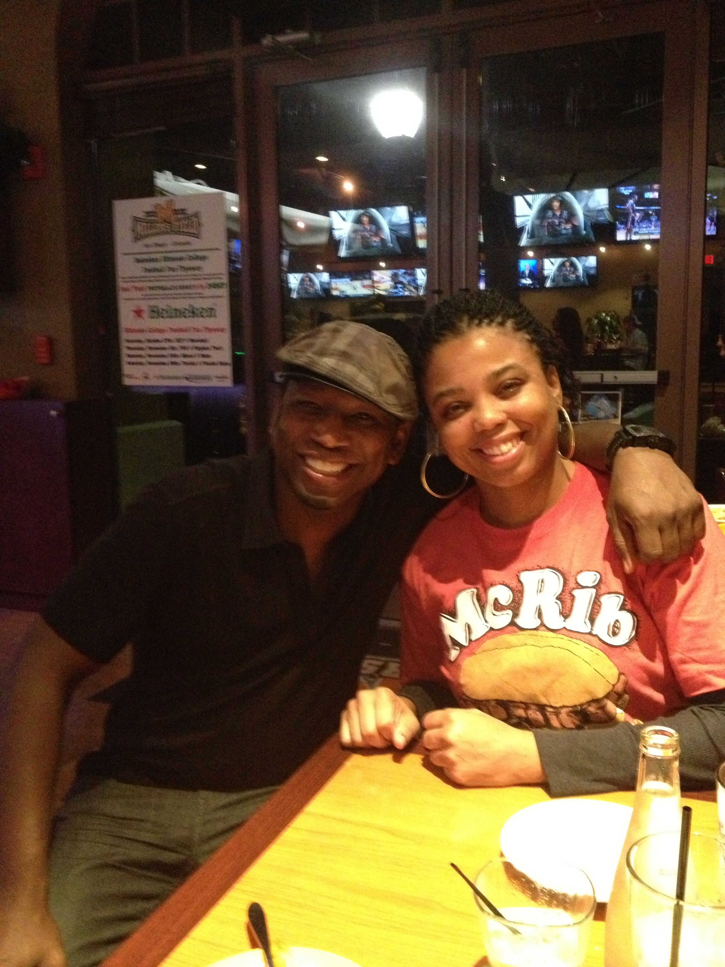 Mutual Fans of each others work. Sports Journalist & ESPN's Numbers Never Lie Jemele Hill chillin' at Millers Post  in Orlando before I invade THE IMPROV COMEDY CLUB'S stage. 2012