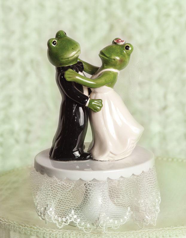 Dancing Frog Bride Groom Froggie Wedding Cake Topper