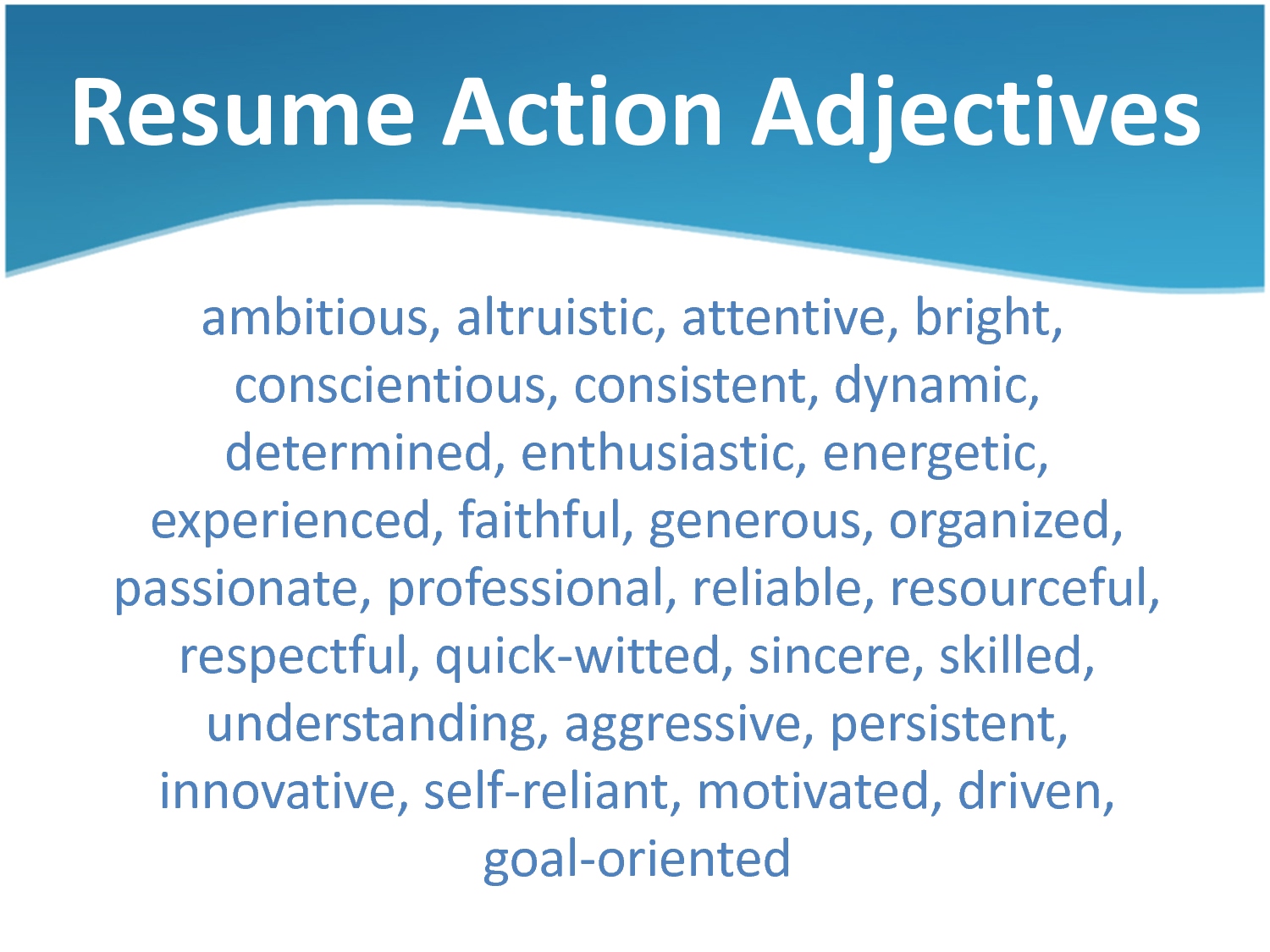 resume Good Adjectives For A Resume adjectives for resumes cover letter power resume google search