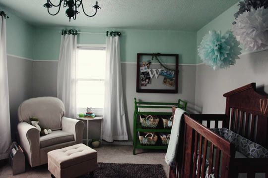 A Grey Minty Green Room For Davis Green Rooms Home Brown Crib