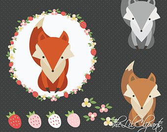 SALE, Fox Clipart, Flower Clipart, Digital Flower, Floral Clipart, Flower Vector, Animal Clipart, Flower Wreath, Fox Vector, Nursery Clipart