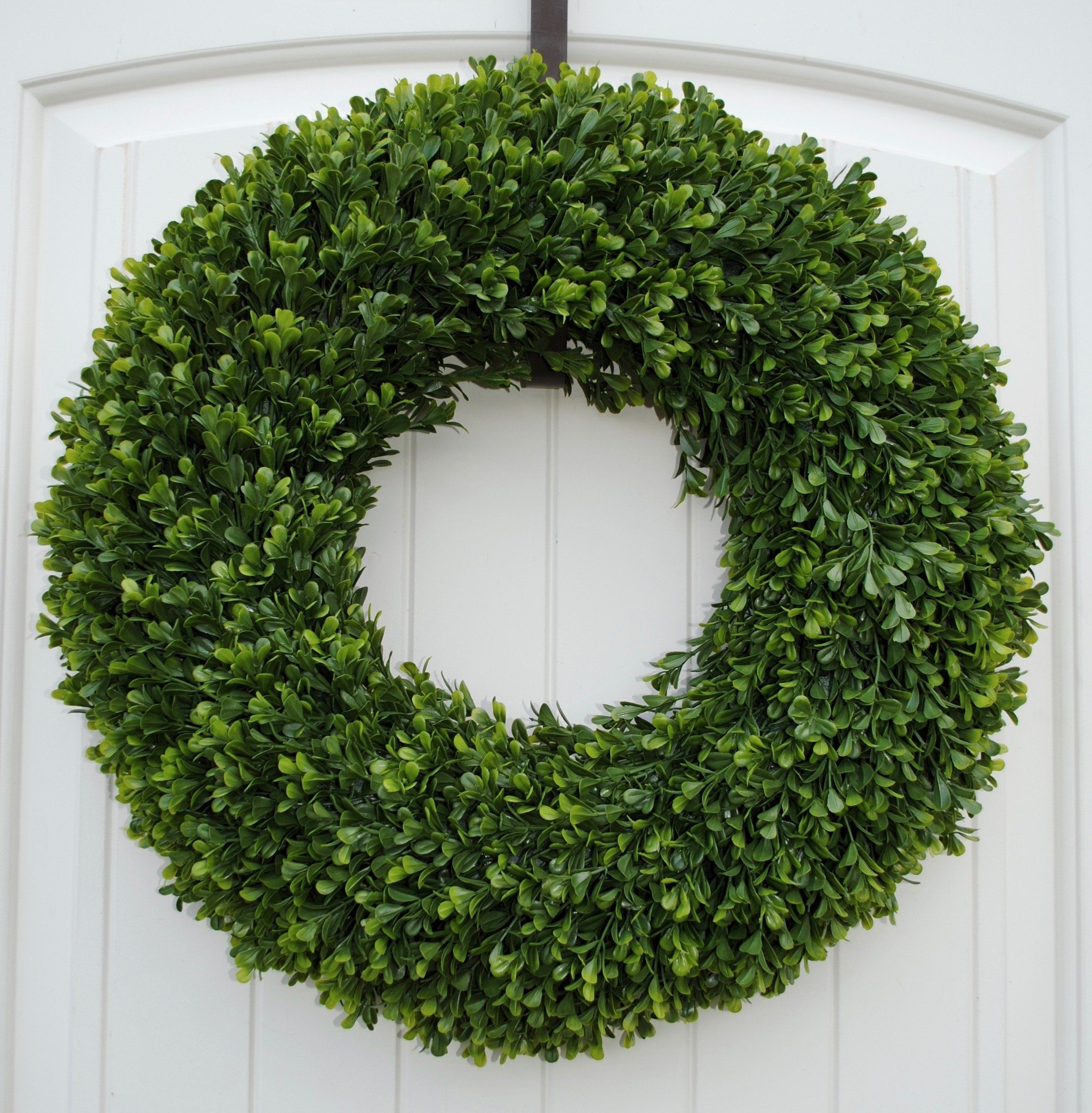 Window frame decor with wreath  green faux boxwood wreath for home decor available in two sizes