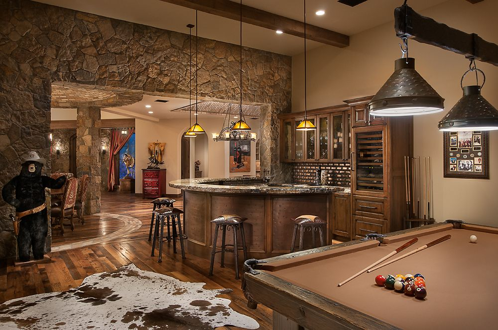 Luxurious man cave southwestern ranch luxury calvis for Homes with basements in arizona