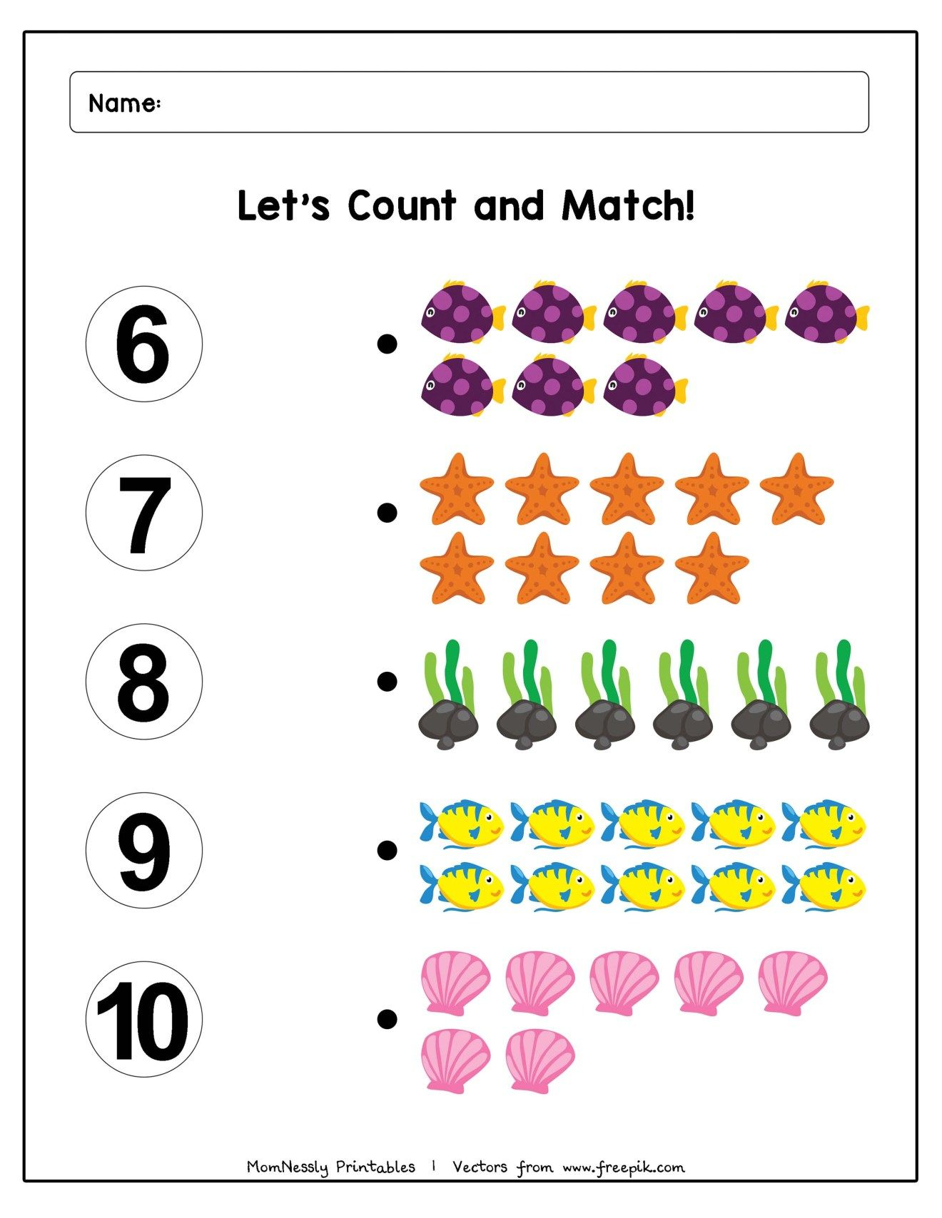 Count And Match Worksheets