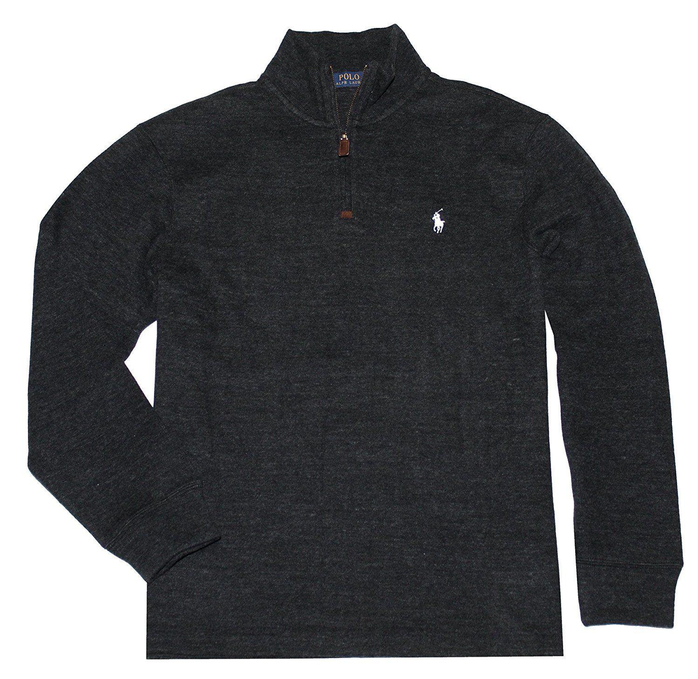 2be16b3028a73a Polo Ralph Lauren Men Half Zip French Rib Cotton Sweater (S, Black White  Pony) at Amazon Men's Clothing store: