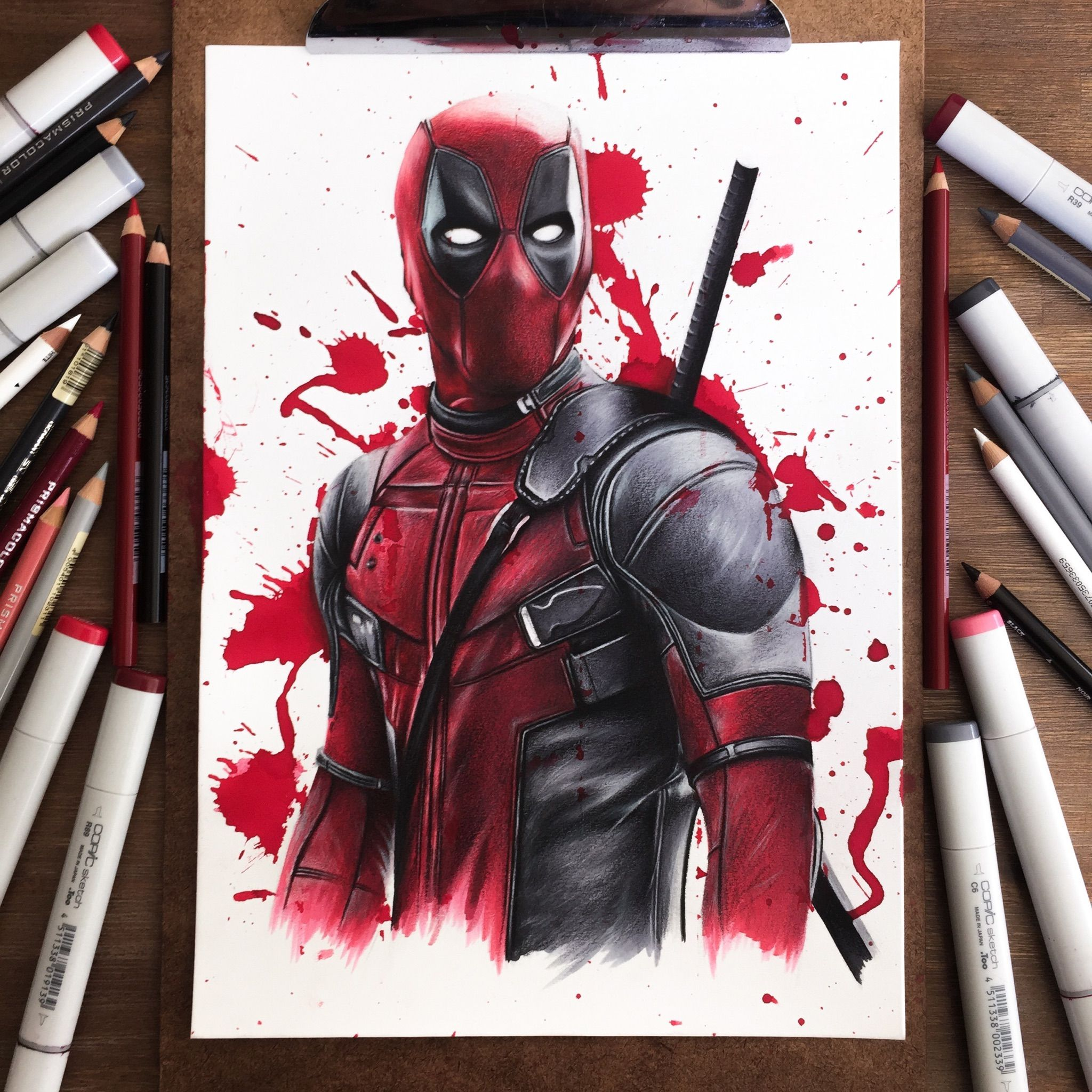 Deadpool Drawing Done With Copic Markers And Pencils In
