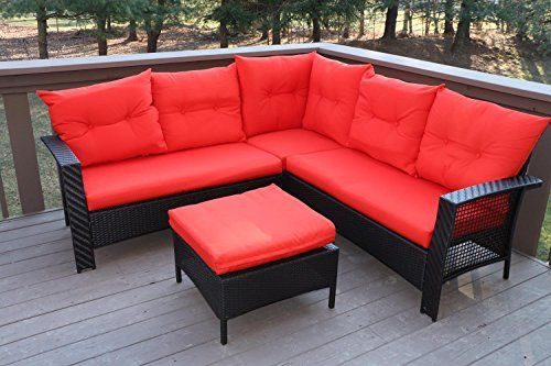 Oliver Smith Large 4 Pc High Back Rattan Wiker Sectional Sofa Set Outdoor Patio Furniture Wicker Patio Furniture Sets Outdoor Patio Furniture Patio Furniture