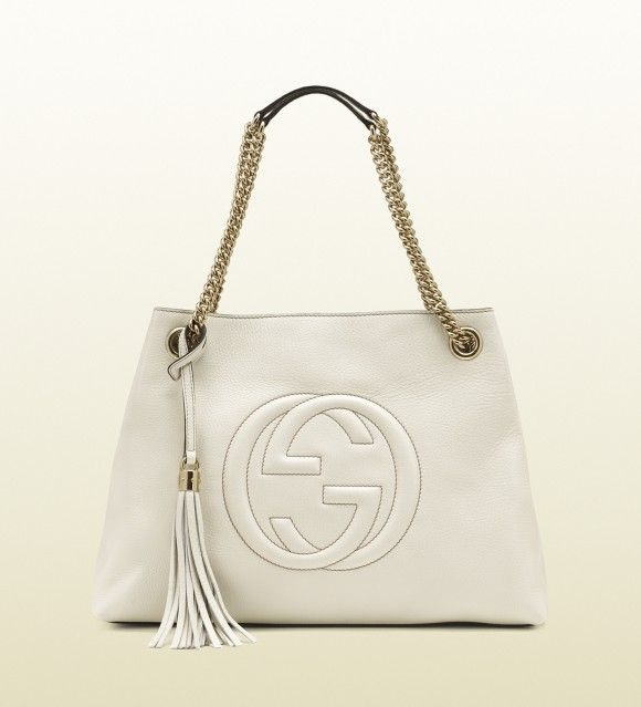 Gucci soho medium white leather tote with chain straps